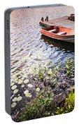 Rowboat At Lake Shore At Sunrise Portable Battery Charger