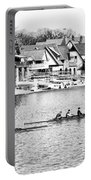 Rowing Along The Schuylkill River In Black And White Portable Battery Charger