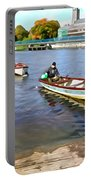 Rowing On The River - Irish Art By Charlie Brock Portable Battery Charger