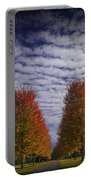 Rows Of Red Autumn Trees With Cirus Clouds Portable Battery Charger