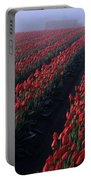 Rows Of Red Tulips Portable Battery Charger