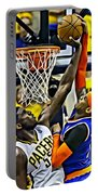 Roy Hibbert Vs Carmelo Anthony Portable Battery Charger by Florian Rodarte