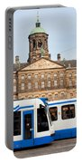 Royal Palace And Trams In Amsterdam Portable Battery Charger