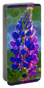 Royal Purple Lupine Flower Abstract Art Portable Battery Charger