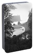 Ruby Beach In The Winter In Black And White Portable Battery Charger