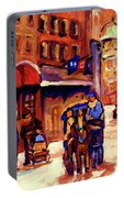 Rue St. Paul Old Montreal Streetscene In Winter Portable Battery Charger