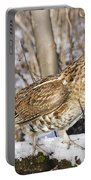 Ruffed Grouse On Snowy Log Portable Battery Charger