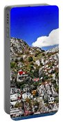 Rugged Cliffside Village Digital Painting Portable Battery Charger