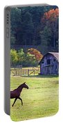 Running Horse And Old Barn Portable Battery Charger
