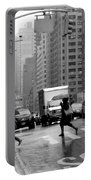 Running In The Rain - New York City Street Scene Portable Battery Charger