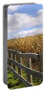 Rural Landscape With Fence Portable Battery Charger