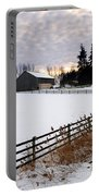 Rural Winter Landscape Portable Battery Charger