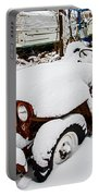 Rusty Jeep In Snow Portable Battery Charger