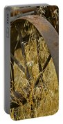 Rusty Old Wheel And Yellow Grasses Portable Battery Charger