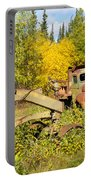 Rusty Truck And Grader Forgotten In Fall Forest Portable Battery Charger
