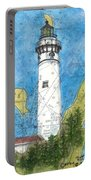 S Manitou Island Lighthouse Mi Nautical Chart Map Art Portable Battery Charger