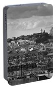Sacre Coeur Over Rooftops Black And White Version Portable Battery Charger