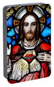 Sacred Heart Of Jesus In Stained Glass Portable Battery Charger