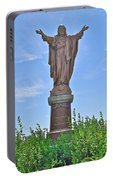 Sacred Heart Of Jesus Sculpture In Saint Laurent On Ile D'orleans-qc Portable Battery Charger