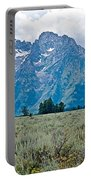 Sagebrush Flatland And Teton Peaks Near Jenny Lake In Grand Teton National Park-wyoming- Portable Battery Charger