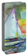 Sailboat Evening Wc On Paper Portable Battery Charger