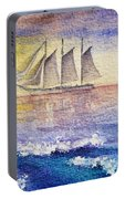 Sailboat In The Ocean Portable Battery Charger