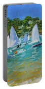 Sailboat Race Portable Battery Charger by Andrew Macara