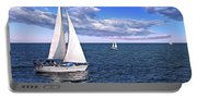 Sailboats At Sea Portable Battery Charger