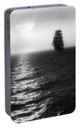 Sailing Out Of The Fog - Black And White Portable Battery Charger