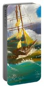 Sailing Ship In A Storm Portable Battery Charger