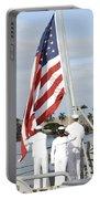 Sailors Hoist The American Flag Portable Battery Charger