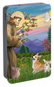 Saint Francis Blesses A Corgi And Her Pup Portable Battery Charger