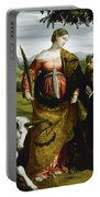 Saint Justina With The Unicorn Portable Battery Charger