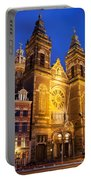 Saint Nicholas Church At Night In Amsterdam Portable Battery Charger