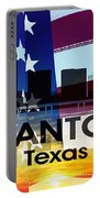 San Antonio Tx Patriotic Large Cityscape Portable Battery Charger
