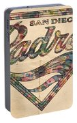 San Diego Padres Poster Vintage Portable Battery Charger