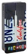 San Francisco California Skyline License Plate Art Portable Battery Charger