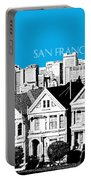San Francisco Skyline Alamo Square - Ice Blue Portable Battery Charger