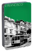 San Francisco Skyline Cable Car 2 - Forest Green Portable Battery Charger