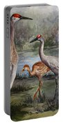 Sandhill Cranes On Alert Portable Battery Charger