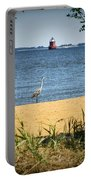 Sandy Pt Shoal Lighthouse And Blue Heron Portable Battery Charger