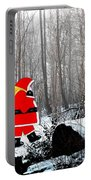 Santa In Christmas Woodlands Portable Battery Charger