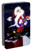 Santa Plays Guitar In A Snowstorm 2 Portable Battery Charger