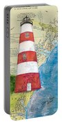 Sapelo Island Lighthouse Ga Nautical Chart Map Art Cathy Peek Portable Battery Charger