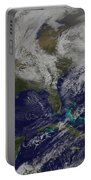 Satellite View Of A Noreaster Storm Portable Battery Charger