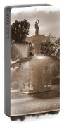 Savannah Fountain In Sepia Portable Battery Charger
