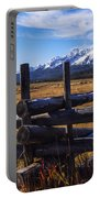 Sawtooth Mountains And Wooden Fence Portable Battery Charger