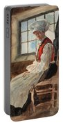 Scandinavian Peasant Woman In An Interior Portable Battery Charger by Alexandre Lunois