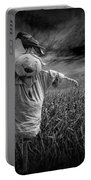 Scarecrow And Black Crows Over A Cornfield Portable Battery Charger