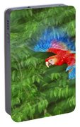Scarlet Macaw Juvenile In Flight Portable Battery Charger
